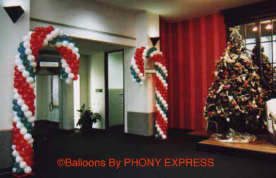 Holiday decorations for Candy cane balloon sculpture