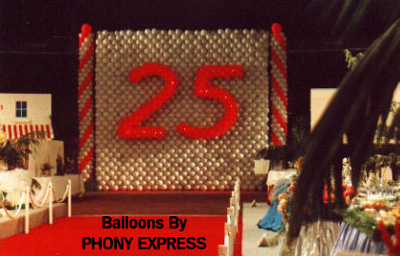 About balloons by phony express for 25th wedding anniversary stage decoration